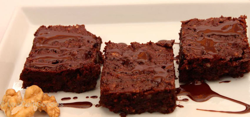 Rezept Doppel-Schoko-Walnuss-Brownies lowcarb glutenfrei